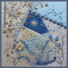 Look at how the embroidery trails from one block onto the next - a wonderful block with lots of energy.