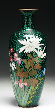 Lot 50: A Japanese Antique Silver Ando Cloisonne Vasehttp://www.invaluable.com (
