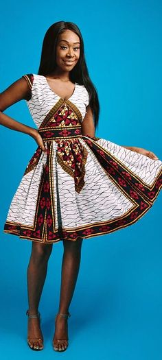 african fashion ankara the ABBY dress. V neck African print mini dress with fully lined with 2 side pockets and back zip. African Fashion Ankara, Ghanaian Fashion, African Inspired Fashion, African Print Dresses, African Dresses For Women, African Print Fashion, Africa Fashion, African Attire, African Wear