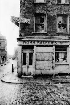 John Claridge's photograph of the abandoned Ross Bakeries shop, Quaker Street, London, 1966 (via Spitalfields Life) Victorian London, Vintage London, Old London, London History, British History, Urban Photography, Street Photography, Vintage Photography, White Photography