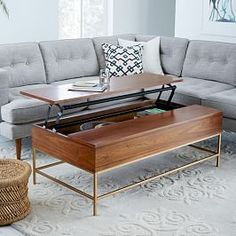 Storage Coffee Table - Walnut/Antique Brass