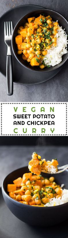 A quick and easy, soy-free, gluten-free, Thai Vegan Sweet Potato and Chickpea Curry for a meatless Monday full of flavor and nutrition!| healthy recipe ideas