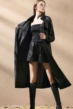 $186.99 Black Pockets Wrap Overwear