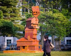 """Photo by Corey Templeton. """"The American Dream"""" by sculptor Judith Hoffman in Portland, Maine Lincoln Park."""