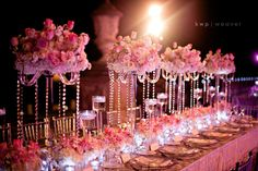 big low tablescape pink and gold