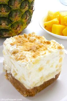 Cold Desserts, Summer Desserts, No Bake Desserts, Easy Desserts, Delicious Desserts, Yummy Food, Delicious Dishes, Pineapple Delight, Pineapple Squares