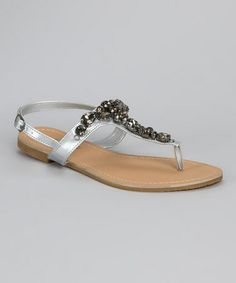 Look what I found on #zulily! Silver Jeweled T-Strap Sandal #zulilyfinds