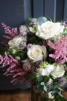pink astilbe, avalanche roses, wilder look  swallows and damsons