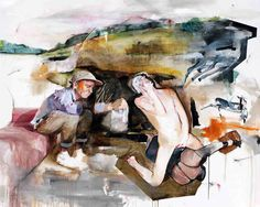 http://www.boumbang.com/lou-ros-painting/ © Lou Ros, Somewhere, mixed media on canvas 200x250 cm