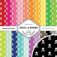 Skull and Bones 20 Piece Digital Scrapbook Paper by sugarstudios $3.99