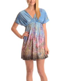 This Blue & Pink Paisley Surplice Dress is perfect! #zulilyfinds