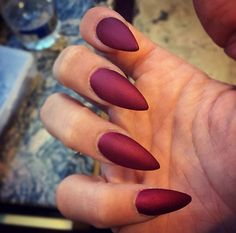 Matte maroon nails