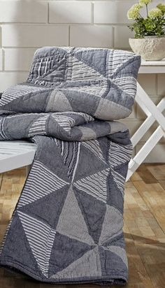Use our Huron quilted throw to keep warm on chilly nights! You will love the pinwheel patchwork pattern of this collection at Primitive Star Quilt Shop. Primitive Quilts, Man Quilt, Boy Quilts, Quilt Baby, Patchwork Patterns, Quilt Patterns Free, Shirt Quilt, Quilt Top, Monochromatic Quilt