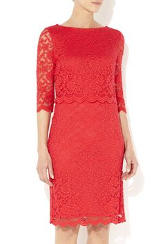 Coral Over Layer Lace Dress