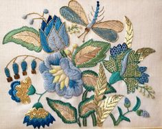 The colours in this piece are just so beautiful. Erica Wilson Needlework ~ private collection