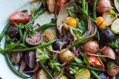Day 7: Tomato, Haricots Verts and Potato Salad Zucchini Pesto, Asparagus Pasta, Grilled Cornish Hens, Wine Recipes, Salad Recipes, Roasted Root Vegetables, Italian Salad, Shrimp Dishes, Feta Salad