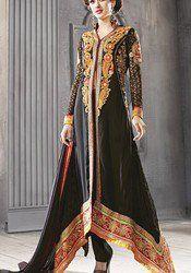 Impressive Black  Georgette Fancy Designer Suit