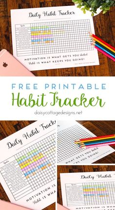 Daily Habit Tracker: Free Printable Goal Tracker - Daisy Cottage Designs