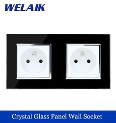 WELAIK  Glass Panel EU Wall Socket Wall Outlet  Black French Standard Power Socket AC110~250V A28F8FB #Affiliate
