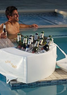 With this floating cooler you'll never even have to leave the pool.