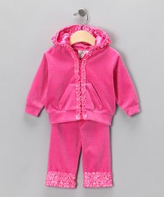Take a look at this Fuchsia Ruffle Zip-Up Hoodie & Pants - Infant & Toddler by Bella Bling & Kosse Designs on #zulily today!