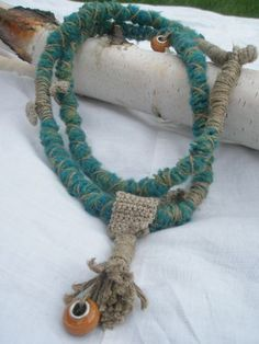 Necklace Handmade and Original Crocheted Wrapped Necklace Boho Linen Bead Fiber Fun Jewelry