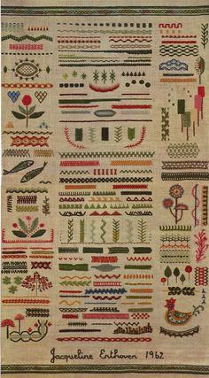 w domu bylo cos podobnoego, tylko znacznie prostszego, zrobione przez mame w szkole :D Jackqueline Enthoven 1962 Stitches of Creative Embroidery - One of the best books on embroidery I've ever read Embroidery sampler by Jacqueline Enthoven, Jackqueline En Embroidery Designs, Embroidery Stitches Tutorial, Embroidery Sampler, Creative Embroidery, Silk Ribbon Embroidery, Diy Embroidery, Embroidery Techniques, Cross Stitch Embroidery, Machine Embroidery