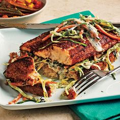 Open-Faced Blackened Catfish Sandwiches.  Make with salad or slaw instead of bread for paleo eating.