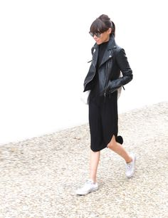 Black leather jacket, black midi dress & white sneakers