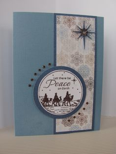 "https://flic.kr/p/dxX8f8 | Seeking Peace | For this card I used JustRite ""Christmas Treasures Set"". It embossed using Stampendous ""Vintage Mahogany"" embossing tinsel.  The star is a Silhouette cut file with bling from Say it with crystals."