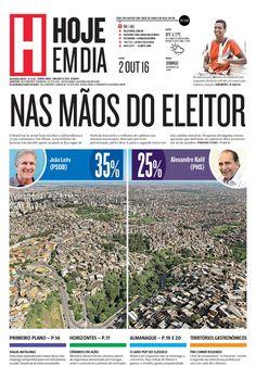 Capa do dia 02/10/2016 #HojeEmDia #Jornal #Notícias #News #Newspaper