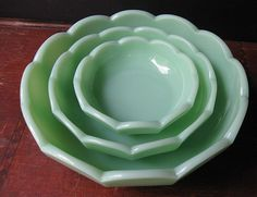 Jadeite scalloped bowls