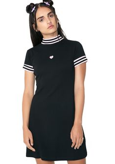 Lazy Oaf Sports Stripe Dress cuz you just wanna be comfy af . This sport dress has a mock neckline, striped trim and an embroidered heart on the front.