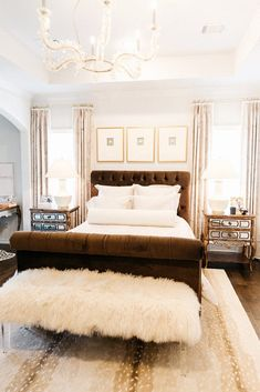 Master Bedroom Before & After with Corbett Lighting