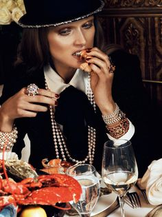 Vogue Paris August 2012 by Lachlan Bailey #seafood #pearls
