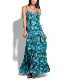 Look what I found on #zulily! Turquoise Abstract Tiered Maxi Dress #zulilyfinds