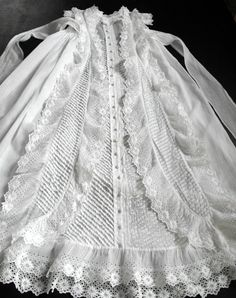 Antique French Christening Gown with Lavish by Vintagefrenchlinens