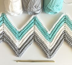 Daisy Farm Crafts: Single Crochet Chevron Blanket in Mint, Gray, and White More
