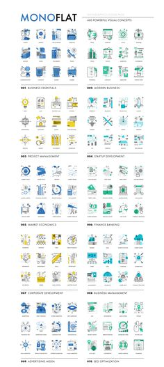 Monoflat Infographics Icons — Icons on Web Design, Business Essentials, Seo Optimization, 12 Image, Wireframe, Ui Kit, Business Management, Vector Icons, Concept