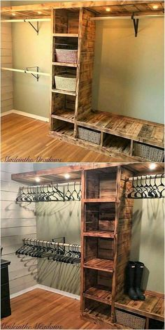Modish Wood Pallet Projects for Your House.Pallet closet with the lighting effect is best option for your living room in the usage of the best wood pallet projects. You can take it as the form of the simple artwor# house Wooden Pallet Projects, Diy Pallet Furniture, Furniture Projects, Home Projects, Garden Projects, Rustic Furniture, Antique Furniture, Furniture Makeover, Furniture Design