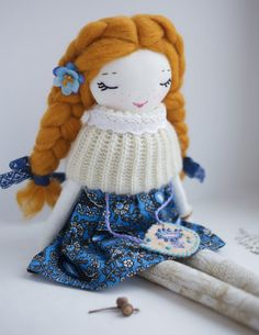 This unique one-of-a-kind handmade doll has been crafted with great dedication, paying special attention to the details. This heirloom doll was made to delight. Her face is embroidered by hand, she has beautiful wool hair. Perfect for gentle play or as an art piece for your room or girls room decor. This doll will be a very good friend for any girl or woman and will bring a smile and happiness to your home! DETAILS: This doll measures just around 15 inches (38 cm) tall, from top of head to…