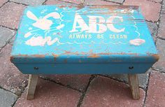 "Vintage Wooden Painted Child's Step Stool ""abc Always Be Clean"" W Bunny Blue"