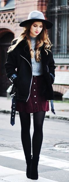 #winter #fashion / coat + skirt
