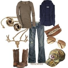 Id wear the boots, jeans, shirt and vest....moose necklace a bit much.:)country country country - dainty-fashion.com