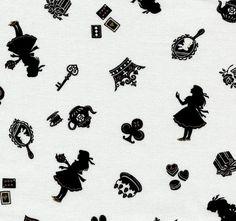 Alice in Wonderland silhouette fabric...