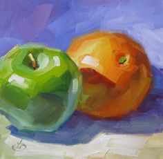 COLORFUL FRUIT, $1 HOLIDAY AUCTION, 8x8 ORIGINAL OIL PAINTING by TOM BROWN, painting by artist Tom Brown
