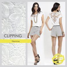Clipping – Coleção Verão 2016 Namine. O artigo utilizado foi o Palm, um guipure floral com bordado em paetês transparentes.  #concept #conceptfashion #concept_textil #fashion #textile #clipping #verão2016 #namine #paetê #guipure