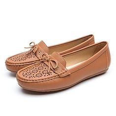 3f6dc4814b7bf Chaussures Plates Cuir Mocassin pour Femmes - Cendfini Mesdames Mocassins  Confortables Chaussures Creuses Respirantes avec Arc