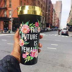 Future Is Female gold lid travel coffee mug Coffee Travel, Travel Mug, Insulated Mugs, Gold Top, Mug Designs, Drinking Tea, Black Girl Magic, Metallica, Drink Sleeves