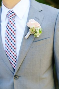 patterned tie with a pop! // photo by Corinne Krogh // View more: http://ruffledblog.com/handmade-wedding-at-orcutt-ranch/
